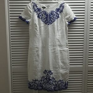 [NWT] White With Blue Embroided Paisley Dress
